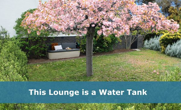 outdoor lounge tank installed in front courtyard
